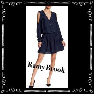 Ramy Brook Maisie Grommet-Trim Cold-Shoulder Dress